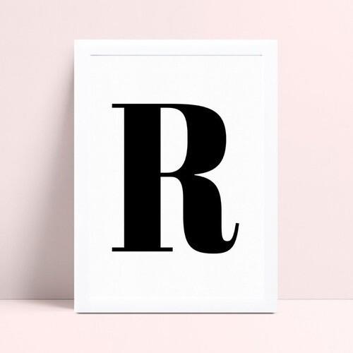 Quadro infantil sem moldura inicial letra R p&B