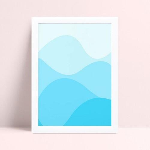 Quadro infantil sem moldura ondas azul bebê