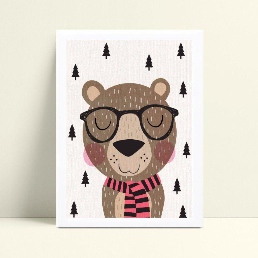 Quadro infantil sem moldura urso de óculos