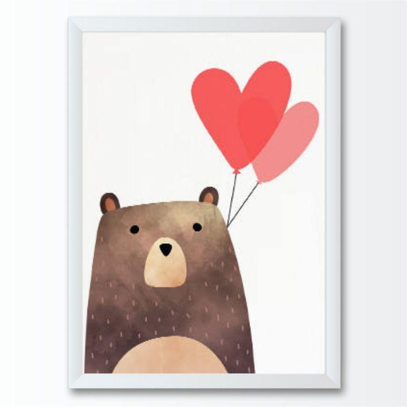 Quadro infantil Urso Balão de Corações