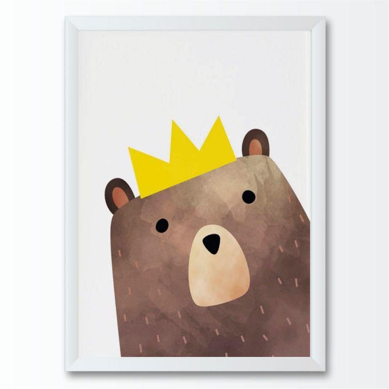 Quadro infantil urso cora de rei