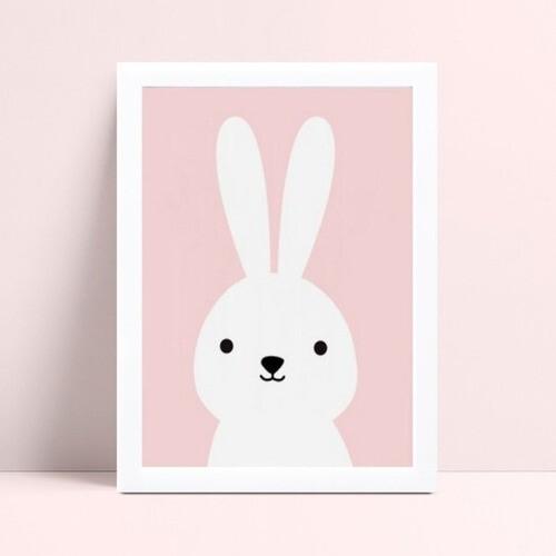 Quadro MDF grande quadro menina coelho branco e rosa