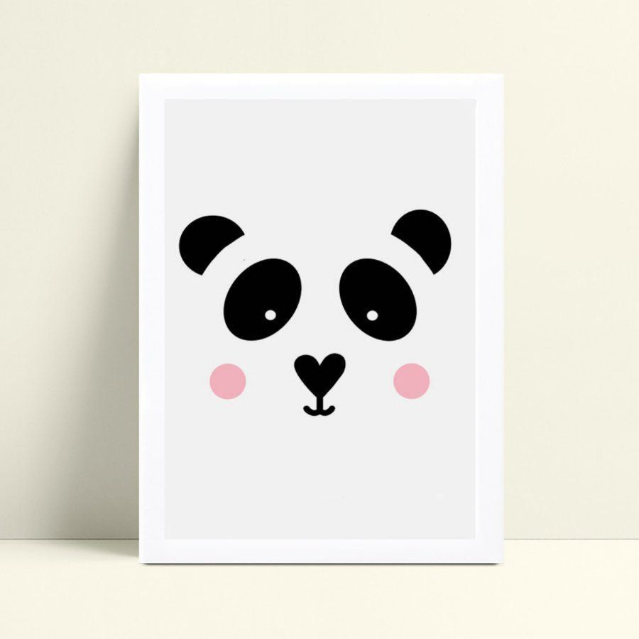 Quadro MDF grande quadro menina face panda bochecha rosa