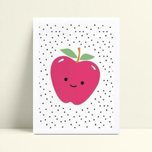 Quadro MDF grande quadro menina maçã rosa bolinhas pretas