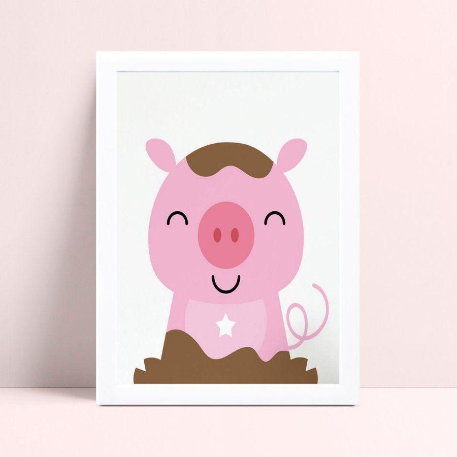 Quadro MDF grande quadro menina porco rosa