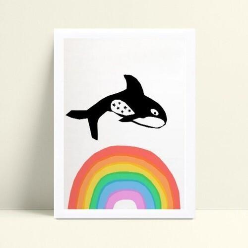 Quadro MDF grande quadro menino menina baleia arco-íris