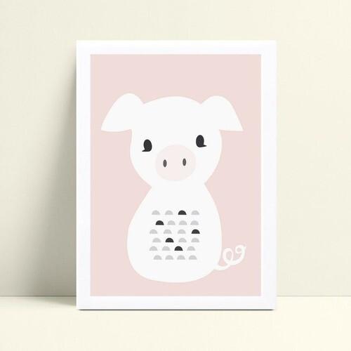 Quadro MDF grande quadro menino menina bebê porco branco