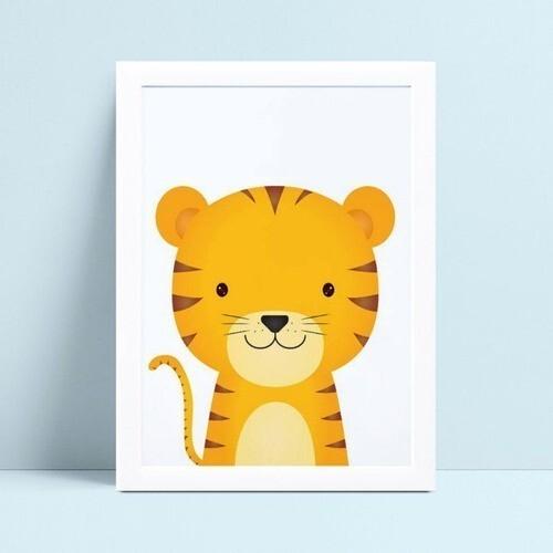 Quadro MDF grande quadro menino menina bebê tigre