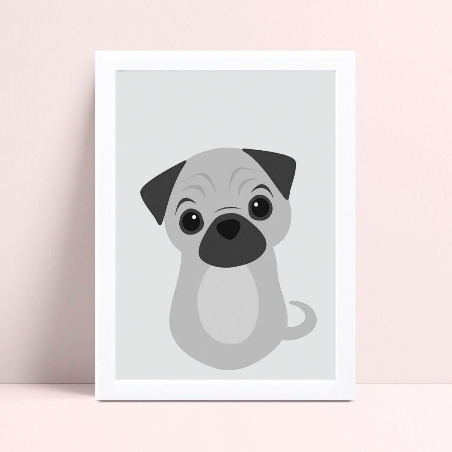Quadro MDF grande quadro menino menina cachorro filhote pug