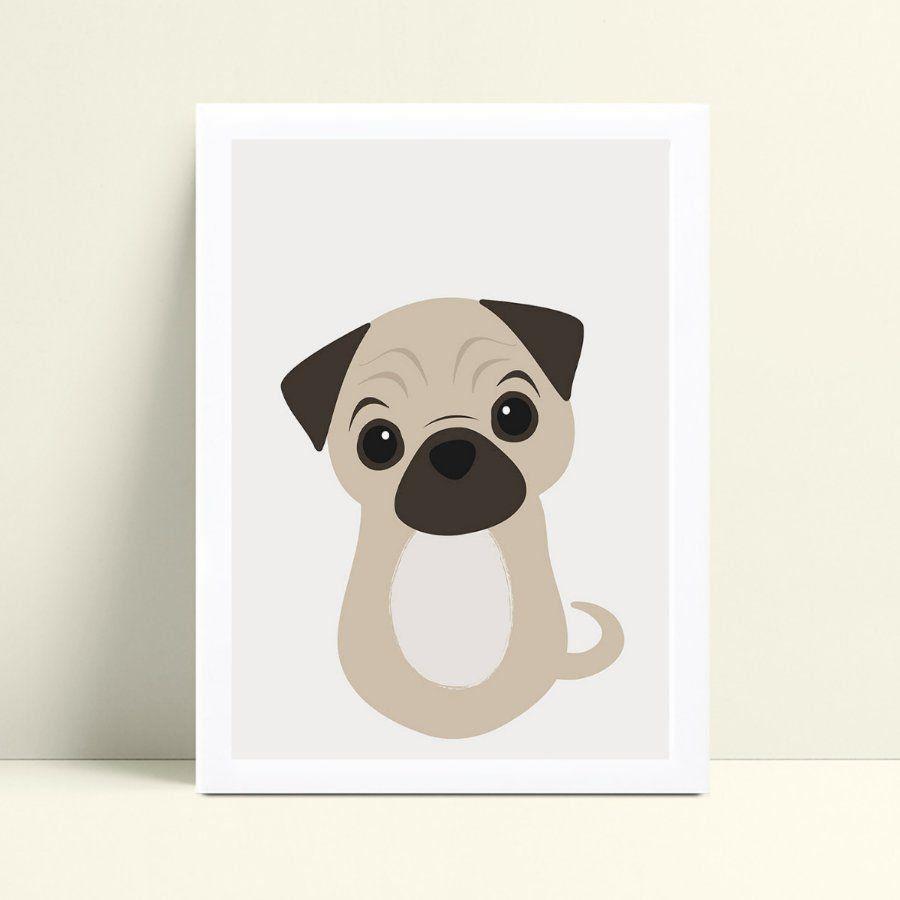 Quadro MDF grande quadro menino menina cachorro pug marrom