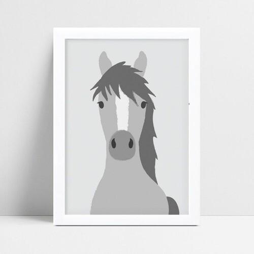Quadro MDF grande quadro menino menina cavalo cinza