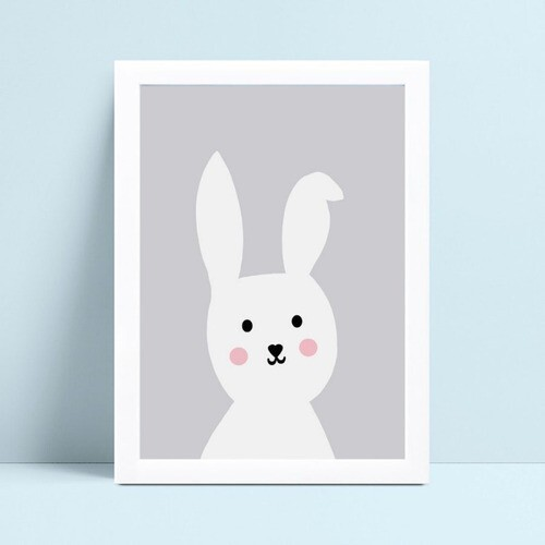 Quadro MDF grande quadro menino menina coelho branco