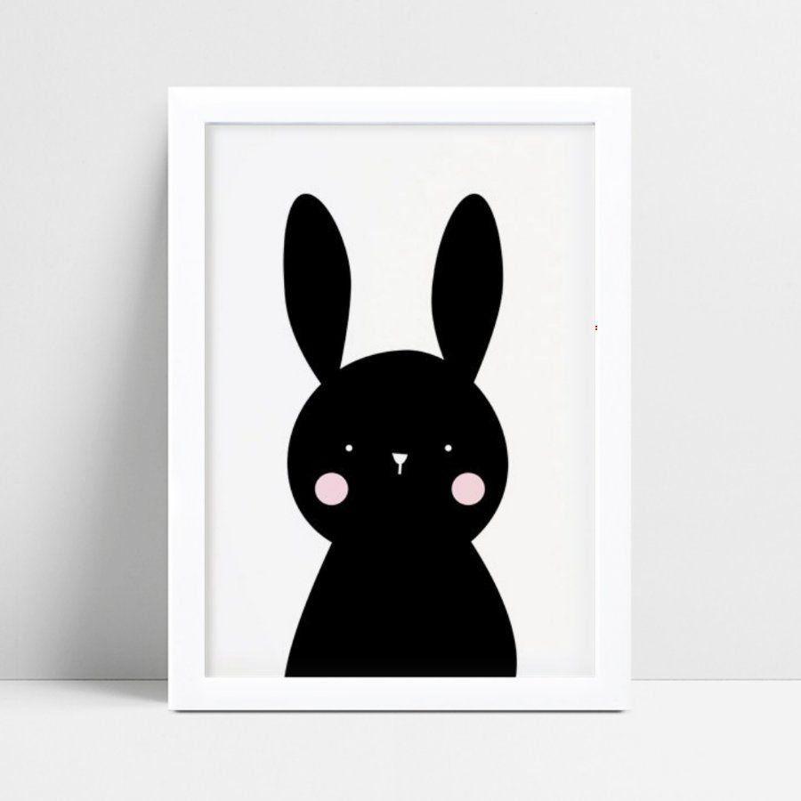 Quadro MDF grande quadro menino menina coelho preto