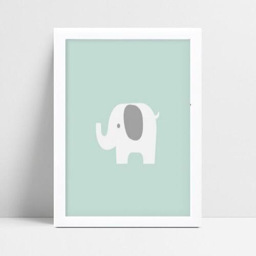 Quadro MDF grande quadro menino menina elefante branco