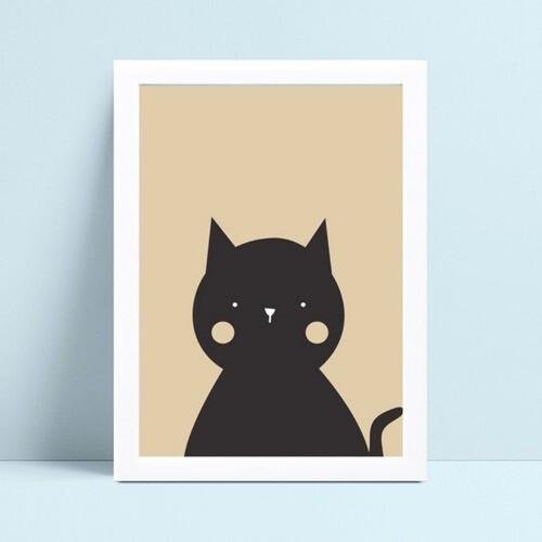 Quadro MDF grande quadro menino menina gato animal