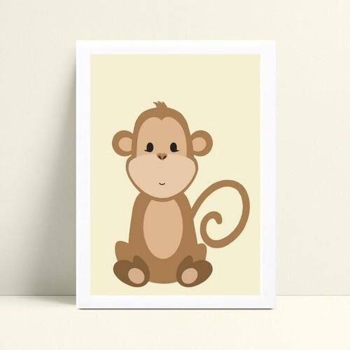 Quadro MDF grande quadro menino menina macaco marrom