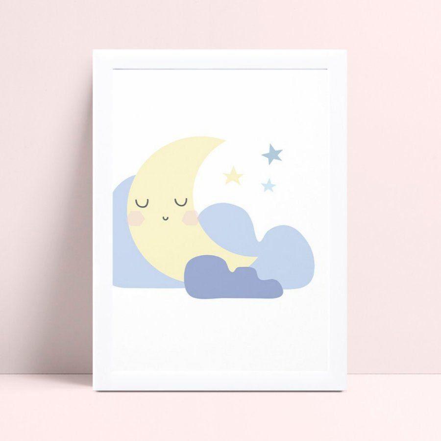 Quadro MDF grande quadro menino menina meia lua nuvens
