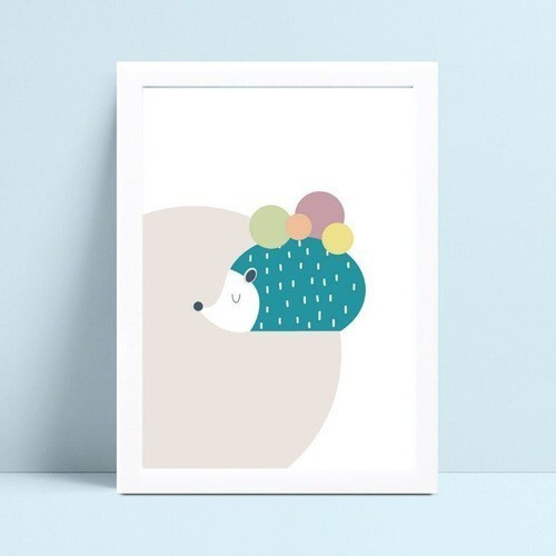 Quadro MDF grande quadro menino menina ouriço animal