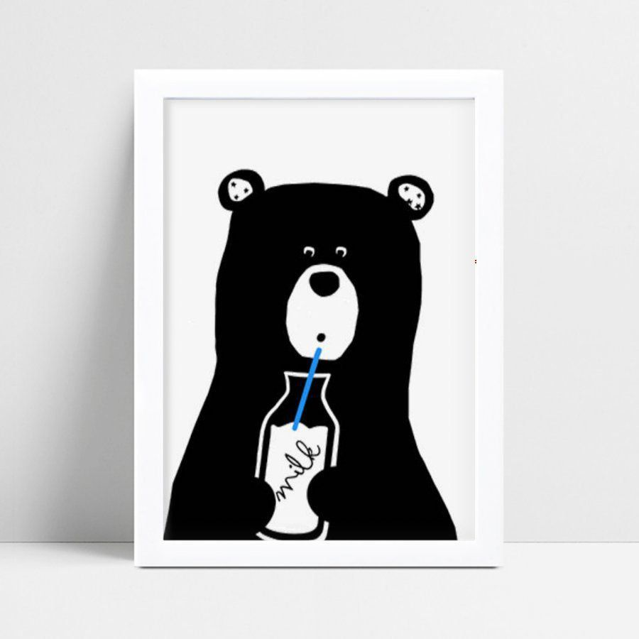 Quadro MDF grande quadro menino menina urso bebendo leite