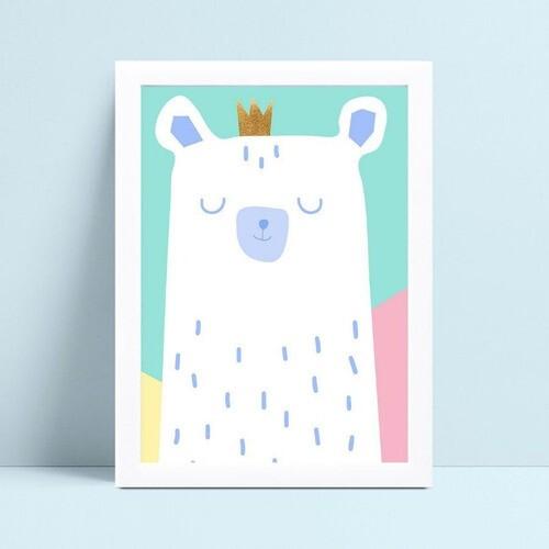 Quadro MDF grande quadro menino menina urso coroa príncipe