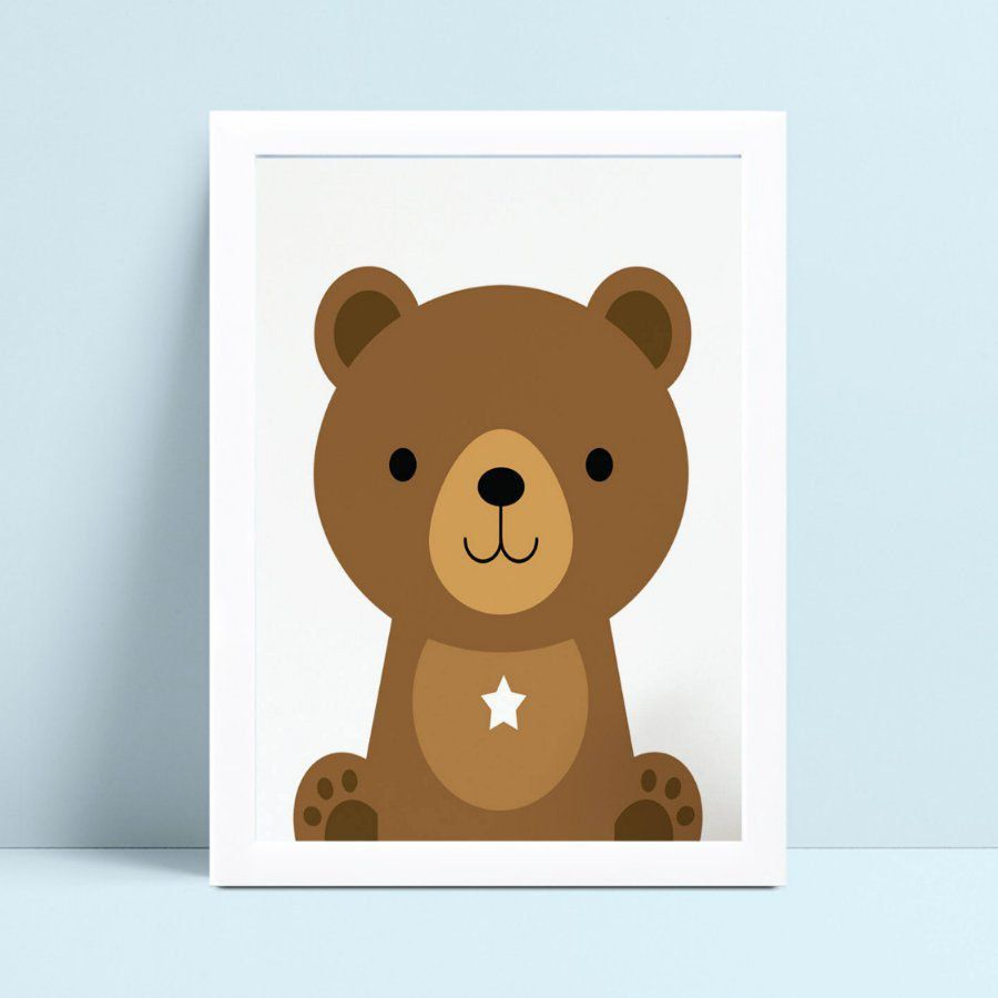 Quadro MDF grande quadro menino menina urso marrom