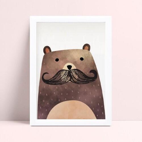 Quadro MDF grande quadro menino urso de bigode
