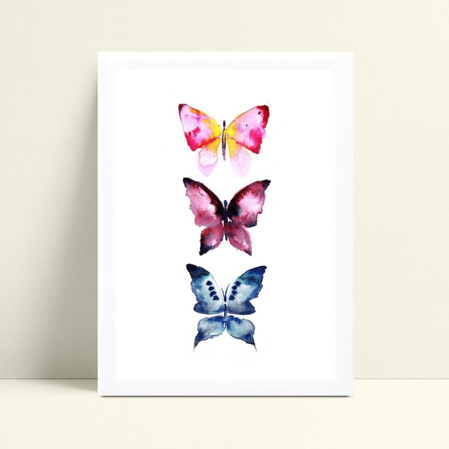 Quadro mdf menina borboletas coloridas aquarela