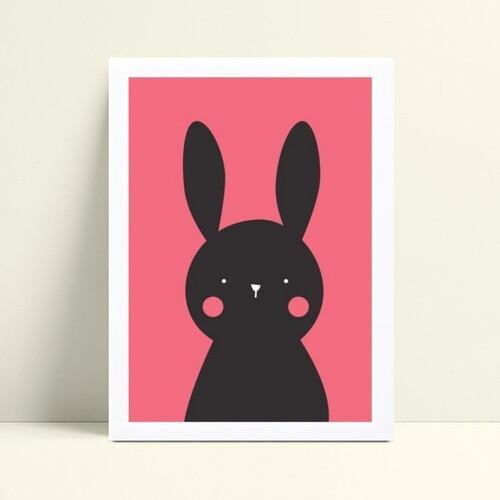 Quadro mdf menina coelho rosa e preto