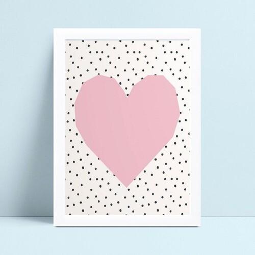 Quadro mdf menina coração rosa grande