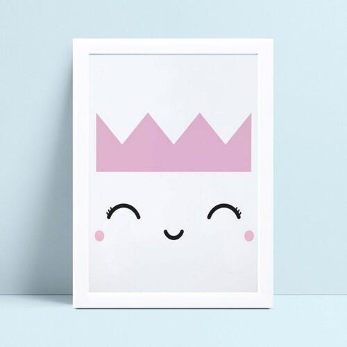 Quadro mdf menina coroa rosa