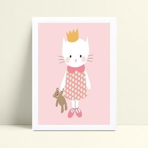 Quadro mdf menina gatinha de vestido e coroa princesa