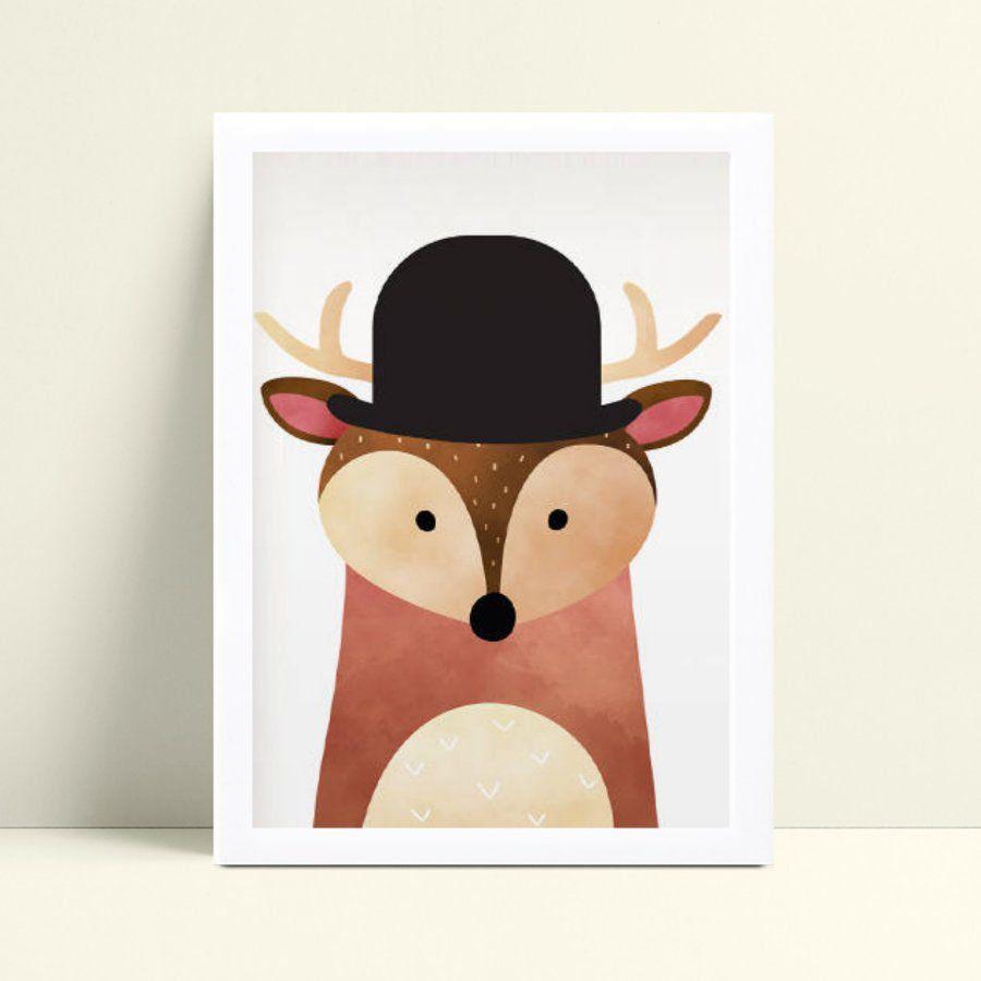 Quadro mdf menina menino animal veado de chapéu