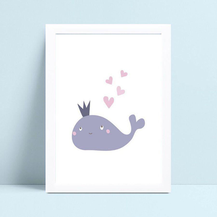 Quadro mdf menina menino baleia azul corações rosa