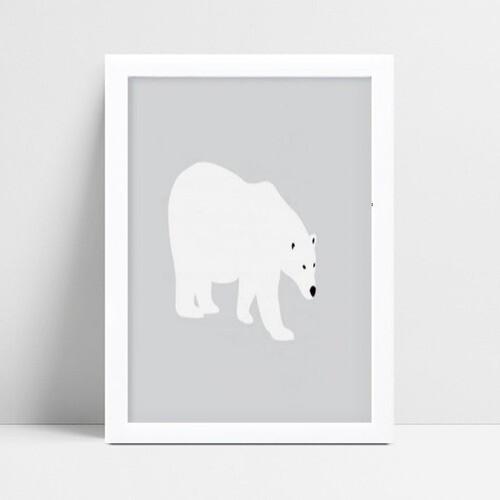 Quadro mdf menina menino bebê urso polar