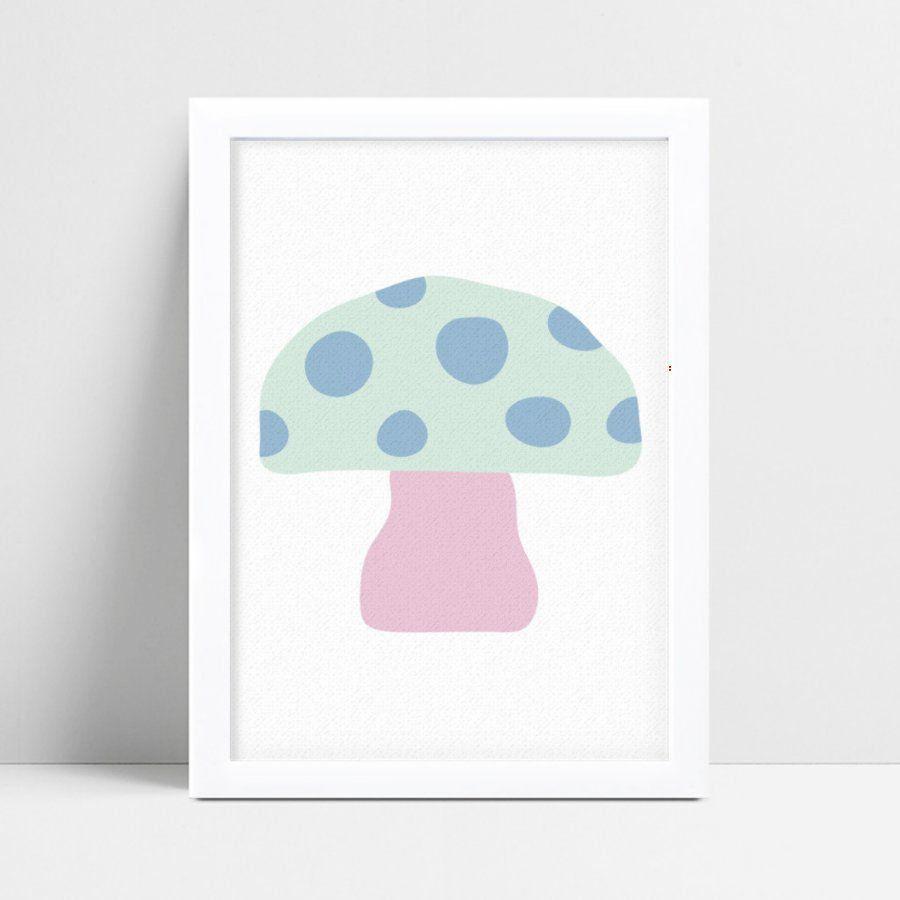 Quadro mdf menina menino cogumelo rosa