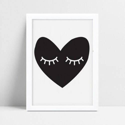 Quadro mdf menina menino coração olhos fechados