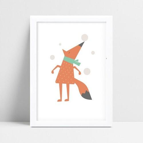 Quadro mdf menina menino desenho raposa