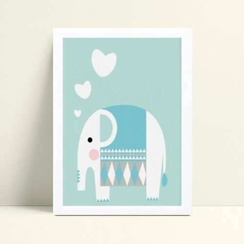 Quadro mdf menina menino elefante branco e azul