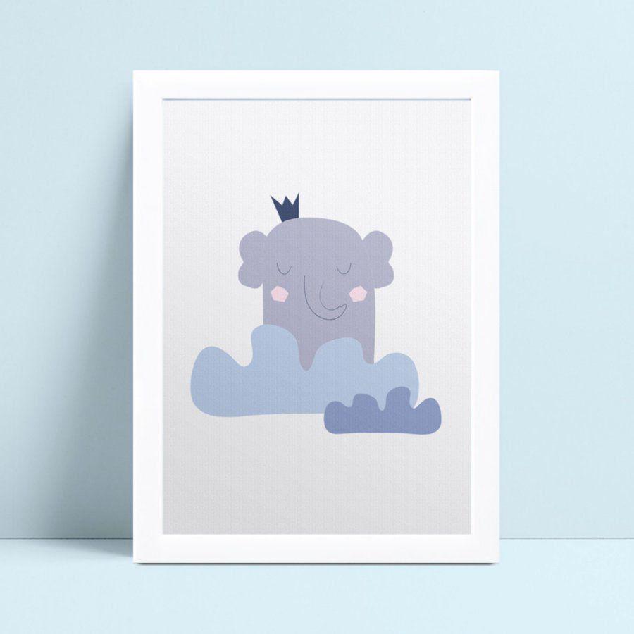 Quadro mdf menina menino elefante coroa azul