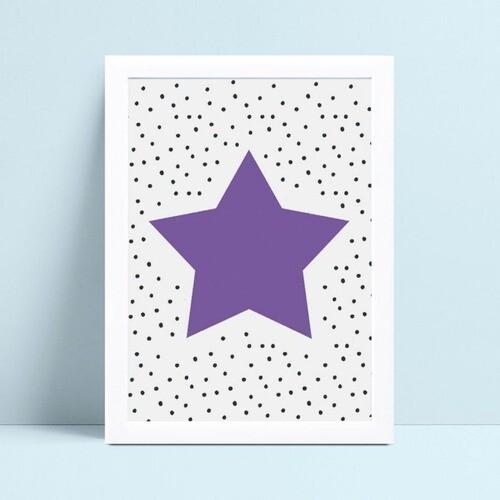 Quadro mdf menina menino estrela violeta