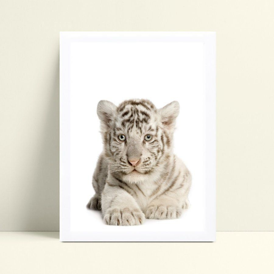 Quadro mdf menina menino fotografia tigre