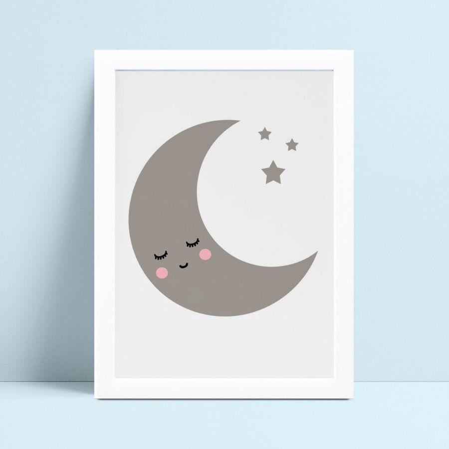 Quadro mdf menina menino meia lua estrelas
