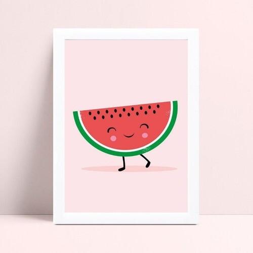Quadro mdf menina menino melancia fruta