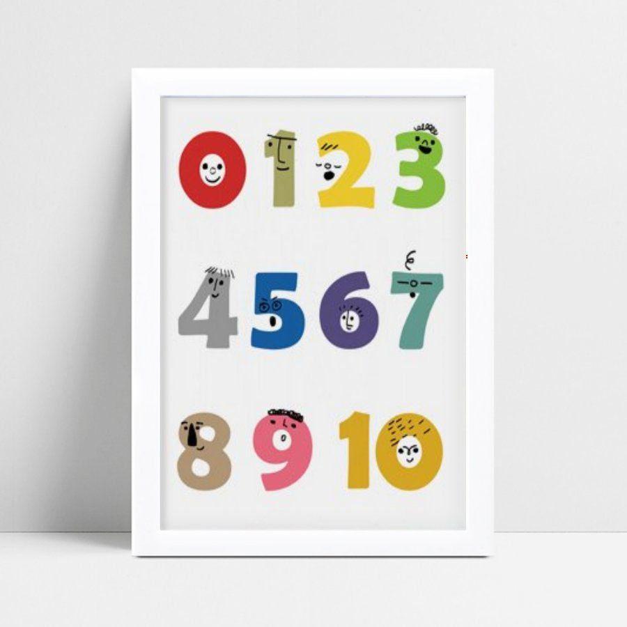 Quadro mdf menina menino números coloridos