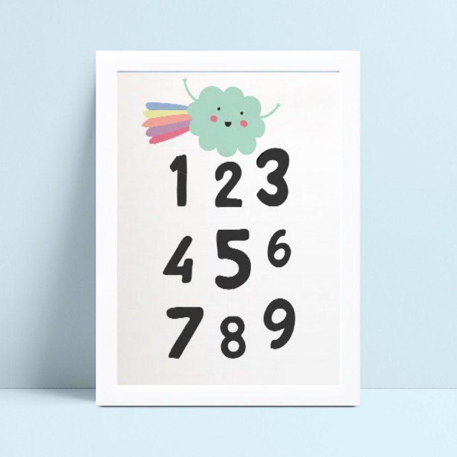 Quadro mdf menina menino nuvem arco-íris números