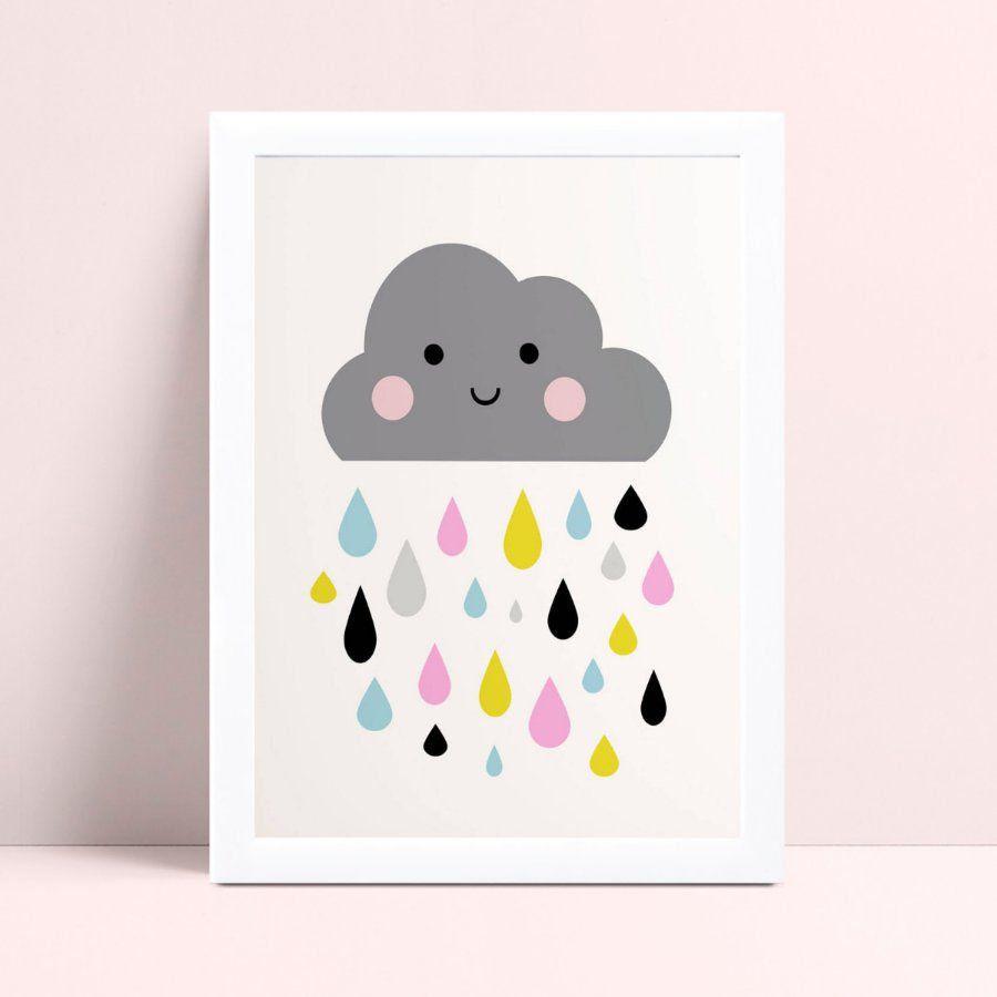 Quadro mdf menina menino nuvem cinza gotas chuva colorido