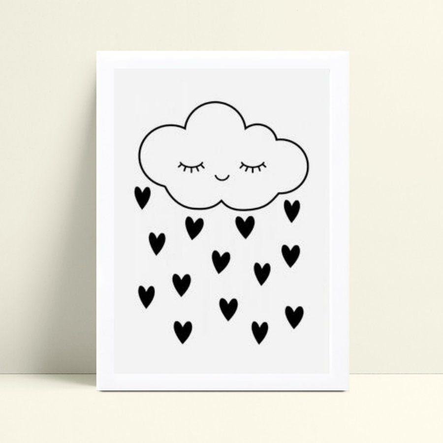 Quadro mdf menina menino nuvem gotas chuva corações preto