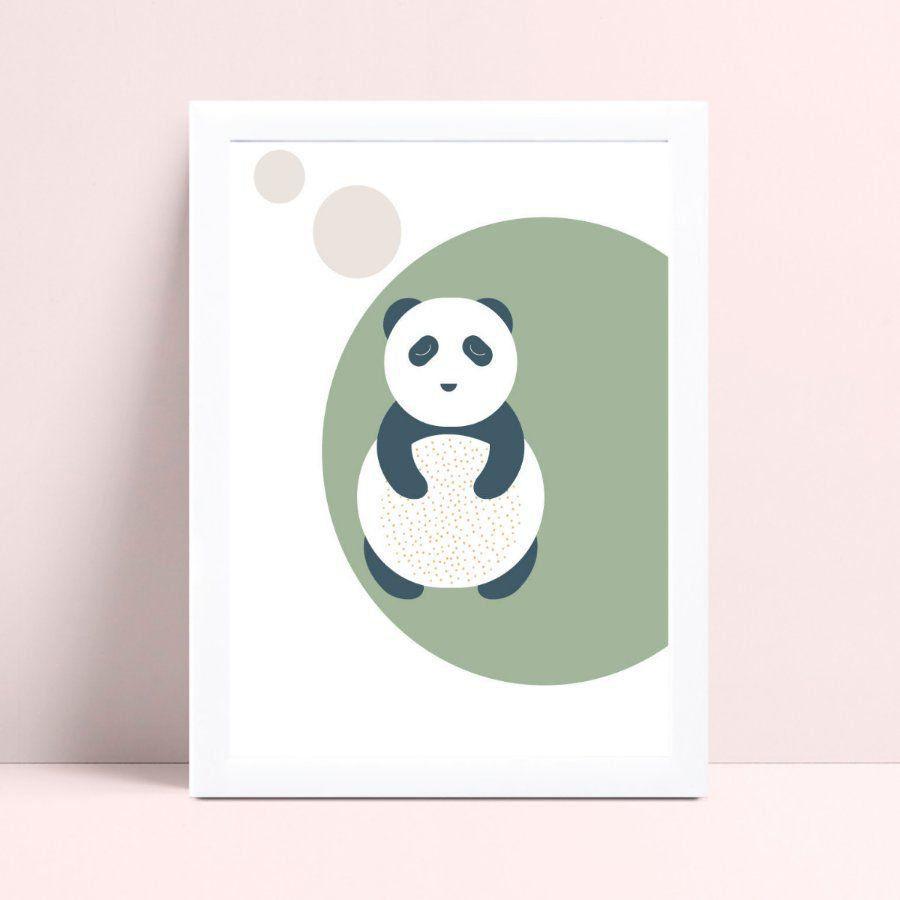 Quadro mdf menina menino panda