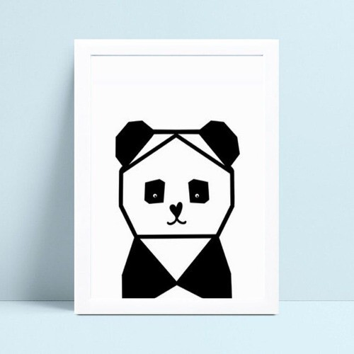 Quadro mdf menina menino panda geométrico p&b