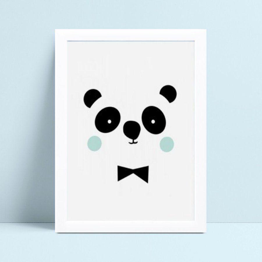 Quadro mdf menina menino rosto face panda